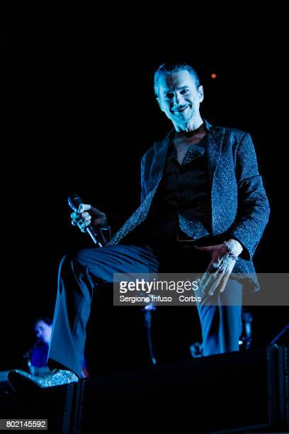 Dave Gahan of English electronic band Depeche Mode performs on stage at Stadio San Siro on June 27 2017 in Milan Italy