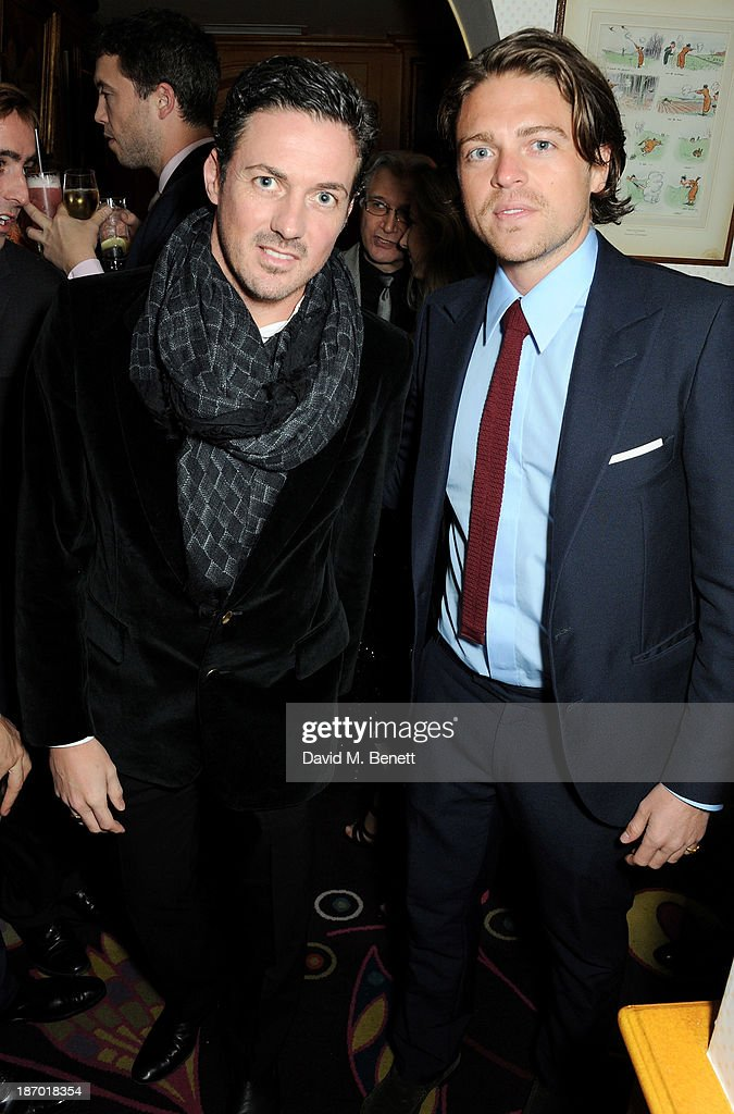 Dave Gardner (L) and Charles Goode attend the Tatler's Little Black Book party at Annabel's on November 5, 2013 in London, England.