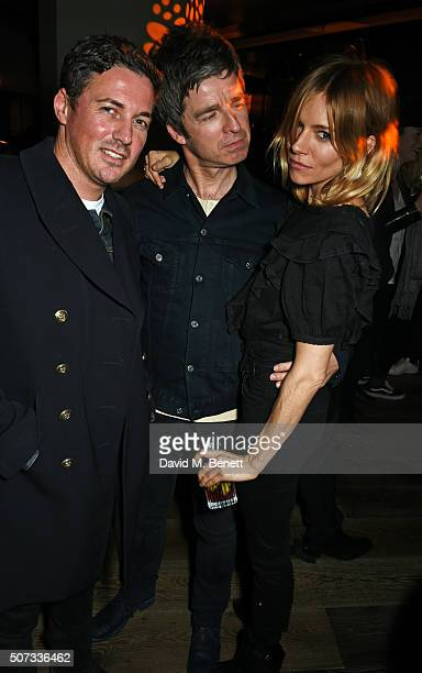 Dave Gardner Noel Gallagher and Sienna Miller attend the launch of 100 Wardour St on January 28 2016 in London England