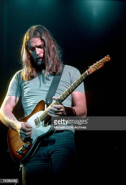 Dave Gilmour of Pink Floyd onstage at the Sports Arena in April 1975 in Los Angeles California