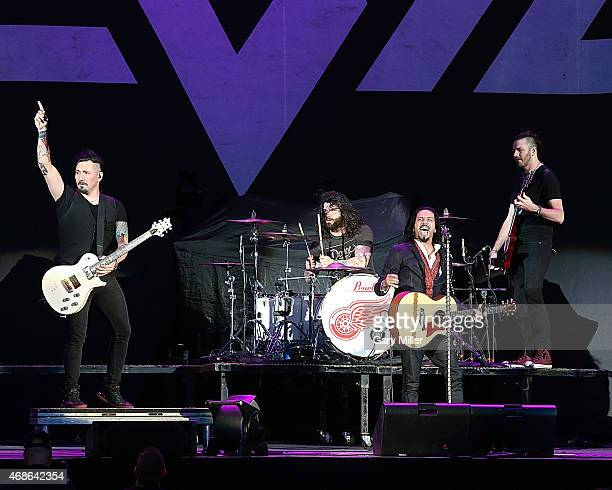 Dave Grahs Josh Marunde Leigh Kakaty and Nick Fuelling of Pop Evil perform in concert at the Austin360 Amphitheater on April 4 2015 in Austin Texas