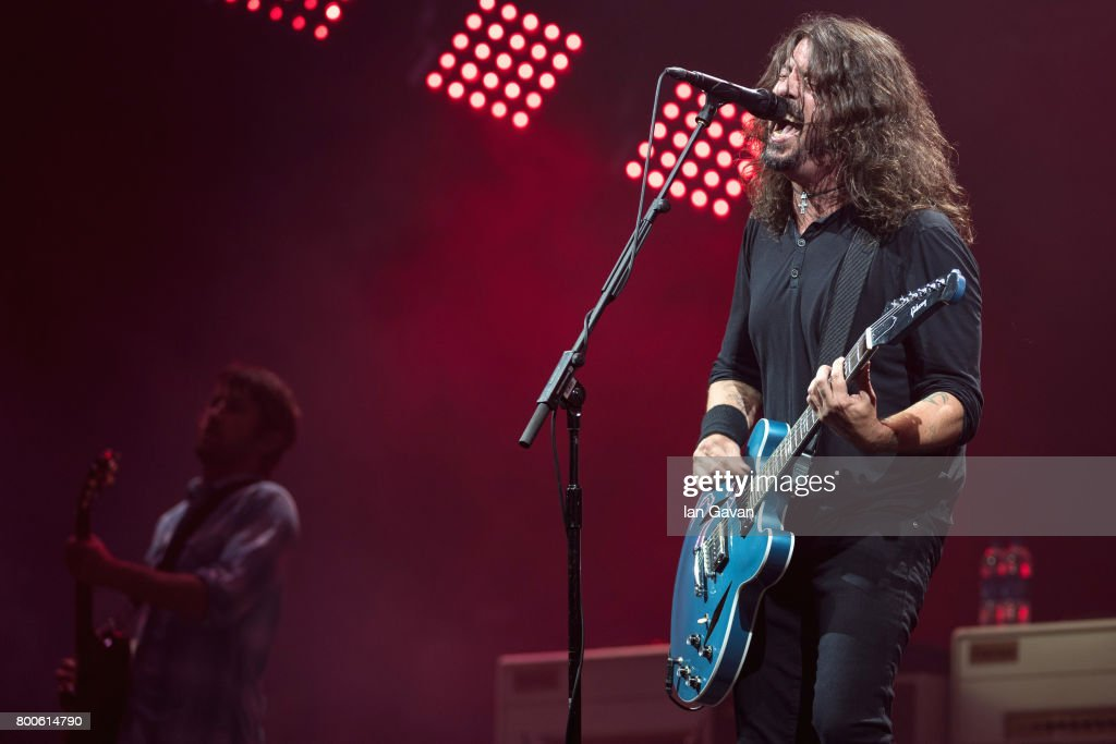 Dave Grohl and Chris Shiflett of Foo Fighters perform on day 3 of the Glastonbury Festival 2017 at Worthy Farm, Pilton on June 24, 2017 in Glastonbury, England.