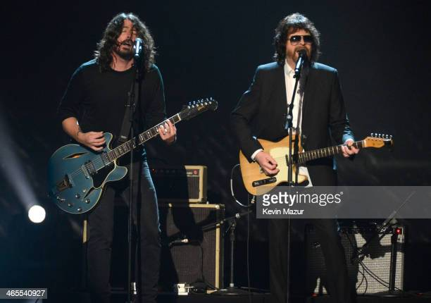 Dave Grohl and Jeff Lynne perform onstage at 'The Night That Changed America A GRAMMY Salute To The Beatles' at Los Angeles Convention Center on...