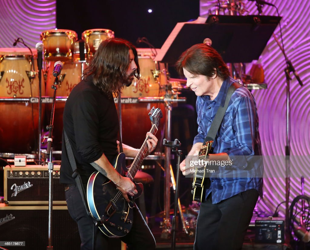 Dave Grohl and John Fogerty perform onstage during the Clive Davis and The Recording Academy present The Annual PreGRAMMY Gala held at The Beverly...