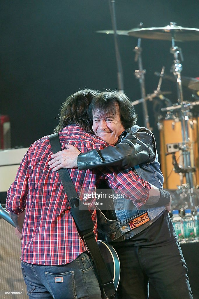Dave Grohl (L) and Lee Ving perform in concert at the Sound City showcase at Stubbs BBQ during the South By Southwest Music Festival on March 14, 2013 in Austin, Texas.