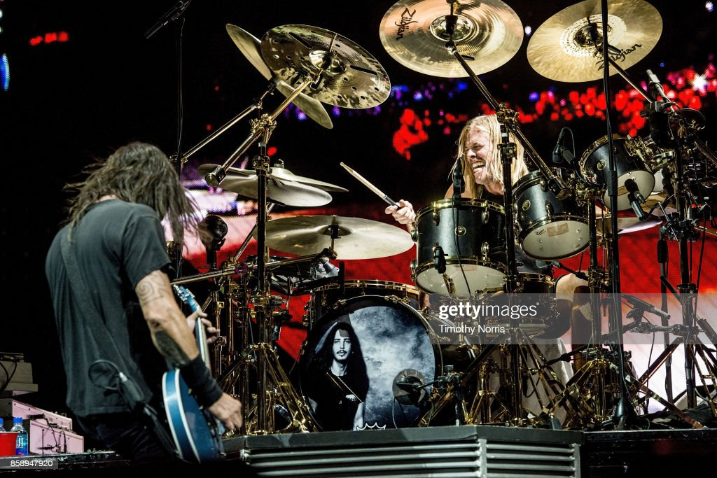 Dave Grohl and Taylor Hawkins of Foo Fighters perform at Glen Helen Amphitheatre on October 7, 2017 in San Bernardino, California.