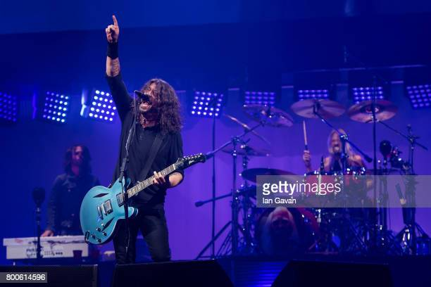 Dave Grohl and Taylor Hawkins of Foo Fighters perform on day 3 of the Glastonbury Festival 2017 at Worthy Farm Pilton on June 24 2017 in Glastonbury...