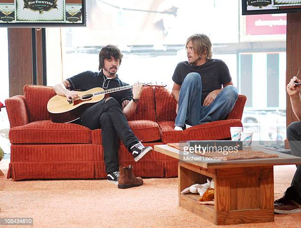 Dave Grohl and Taylor Hawkins of the Foo Fighters during Foo Fighters Take Over MTV2 '24 Hours of Foo' June 11 2005 at MTV Building in New York City...