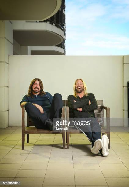 SYDNEY NSW Dave Grohl and Taylor Hawkins pose during a photo shoot at the Intercontinental Hotel in Sydney New South Wales