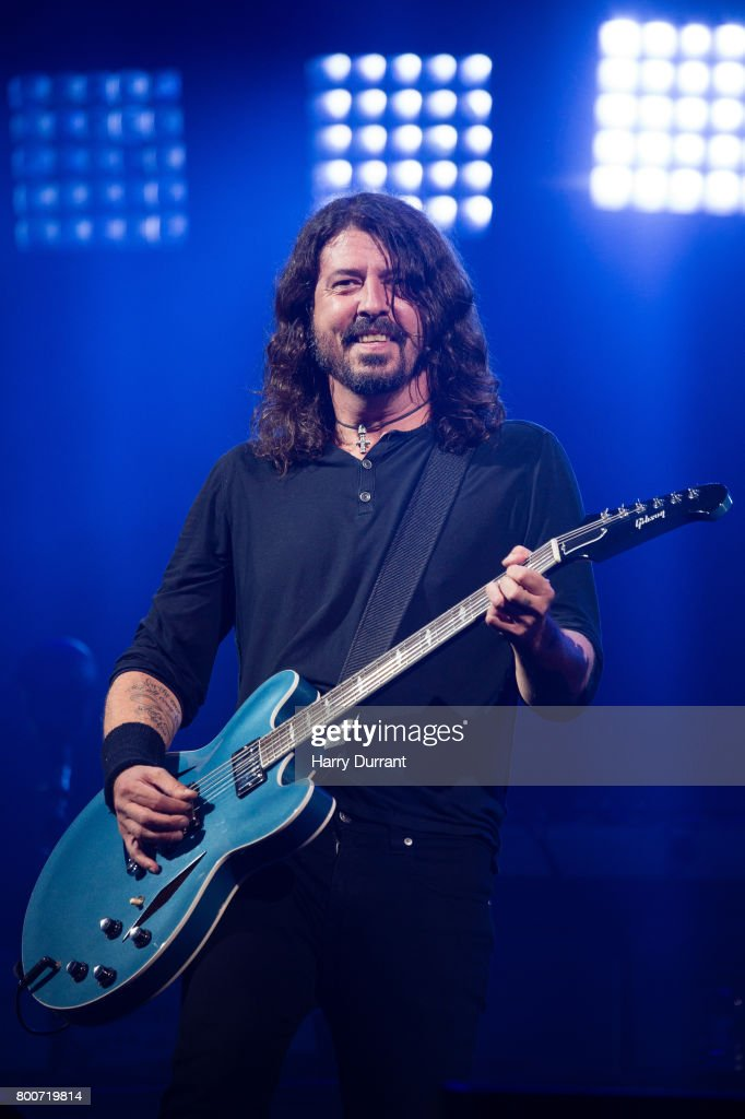 Dave Grohl from the Foo Fighters performs on the Pyramid Stage on day 3 of the Glastonbury Festival 2017 at Worthy Farm, Pilton on June 24, 2017 in Glastonbury, England.