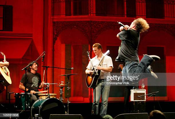 Dave Grohl Josh Homme and Jack Black during The Benefit Concert for Katrina Relief with Tenacious D September 22 2005 at Wiltern Theater LG in Los...