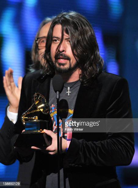 Dave Grohl of Foo Fighters accepts the award for 'Best Rock Performance' onstage at the 54th Annual GRAMMY Awards held at Staples Center on February...