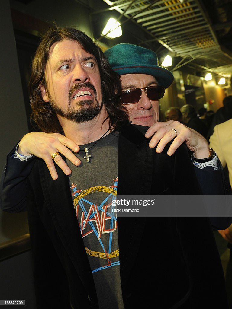 Dave Grohl of Foo Fighters and Elvis Costello backstage at The 54th Annual GRAMMY Awards at Staples Center on February 12, 2012 in Los Angeles, California.