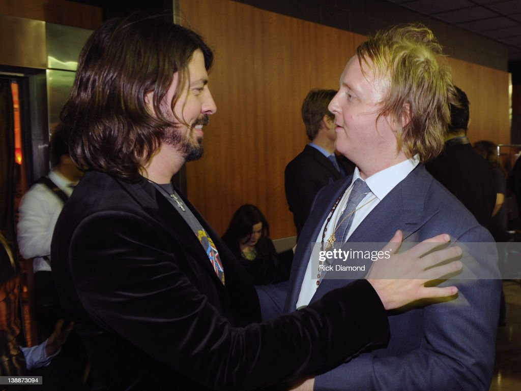 Dave Grohl of Foo Fighters and James Mccartney backstage at The 54th Annual GRAMMY Awards at Staples Center on February 12, 2012 in Los Angeles, California.