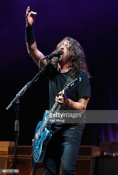 Dave Grohl of Foo Fighters performs as the headliner for the first show at The Anthem on October 12 2017 in Washington DC