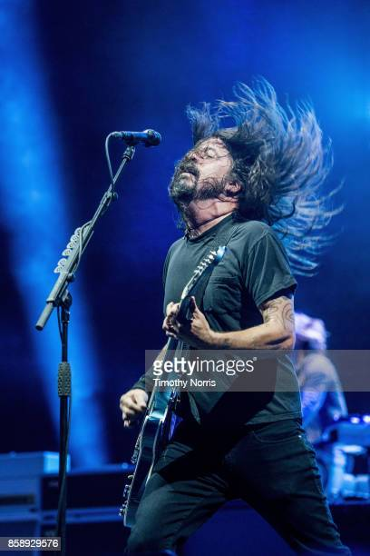 Dave Grohl of Foo Fighters performs at Glen Helen Amphitheatre on October 7 2017 in San Bernardino California
