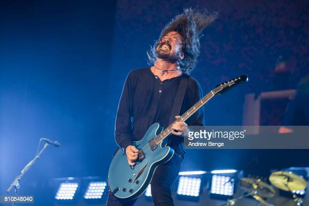 Dave Grohl of Foo Fighters performs on the NOS stage during day 2 of NOS Alive on July 7 2017 in Lisbon Portugal