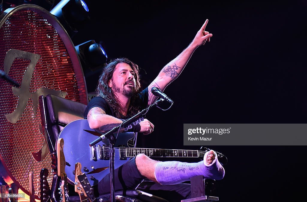 Dave Grohl of Foo Fighters performs onstage during the Foo Fighters 20th Anniversary Blowout at RFK Stadium on July 4, 2015 in Washington, DC.