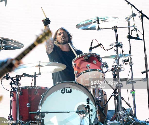 Dave Grohl of Nirvana performs onstage at the 29th Annual Rock And Roll Hall Of Fame Induction Ceremony at Barclays Center of Brooklyn on April 10...