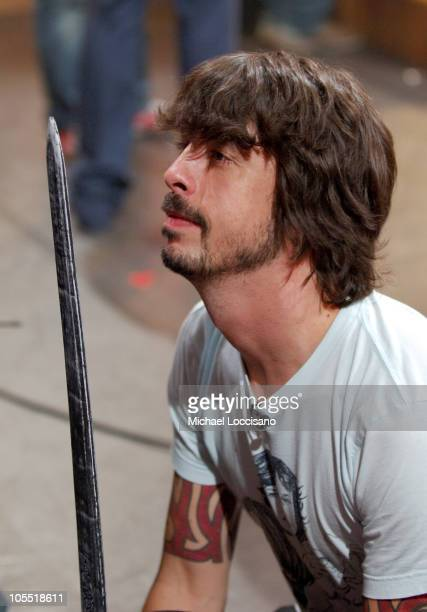 Dave Grohl of the Foo Fighters during Foo Fighters Take Over MTV2 '24 Hours of Foo' June 11 2005 at MTV Building in New York City New York United...