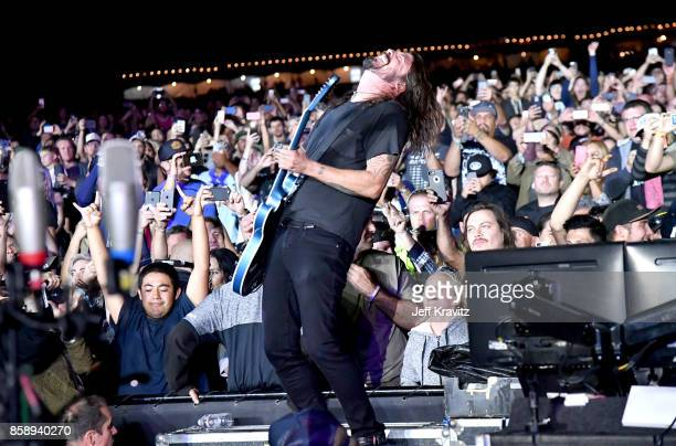 Dave Grohl of the Foo Fighters performs at Cal Jam 2017 on October 7 2017 at Glen Helen Amphitheater in San Bernardino CA