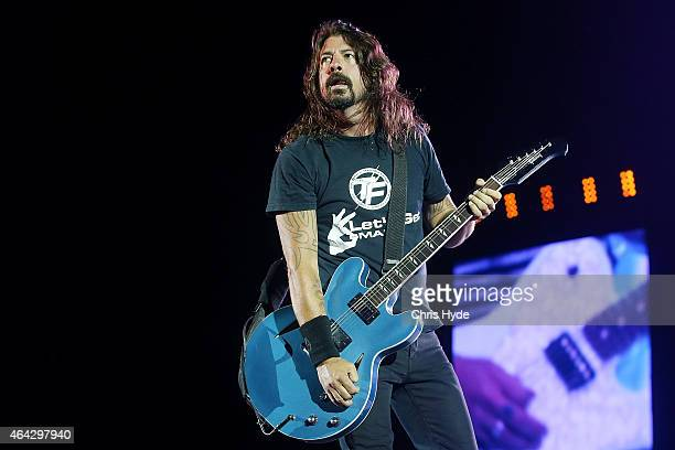 Dave Grohl of the Foo Fighters performs at Suncorp Stadium on February 24 2015 in Brisbane Australia