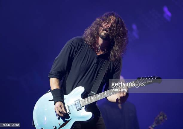 Dave Grohl of the Foo Fighters performs at the Glastonbury Festival site at Worthy Farm in Pilton on June 24 2017 near Glastonbury England...