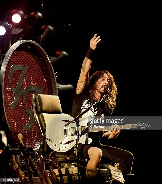 Dave Grohl of The Foo Fighters performs during the 2015 Austin City Limits Music Festival at Zilker Park on October 2 2015 in Austin Texas