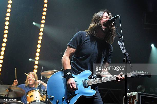 Dave Grohl of the Foo Fighters performs live on stage during the NME Big gig at Wembley Arena on February 25 2011 in London England
