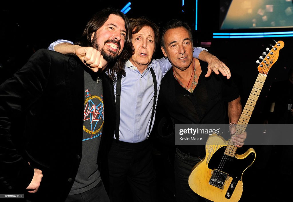 Dave Grohl, Sir Paul McCartney and Bruce Springsteen attend The 54th Annual GRAMMY Awards at Staples Center on February 12, 2012 in Los Angeles, California.