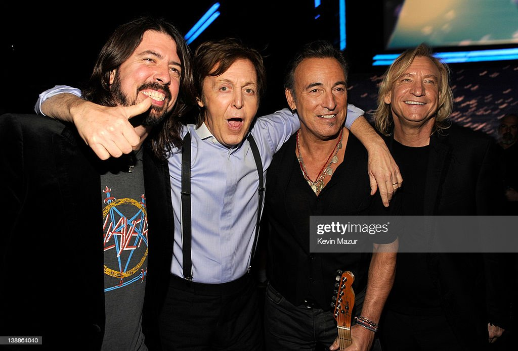 Dave Grohl, Sir Paul McCartney, Bruce Springsteen and Joe Walsh attend The 54th Annual GRAMMY Awards at Staples Center on February 12, 2012 in Los Angeles, California.