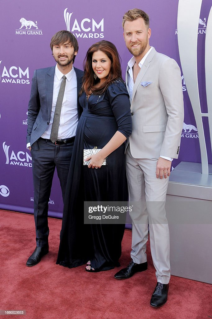 Dave Haywood, Hillary Scott and Charles Kelley of Lady Antebellum arrive at the 48th Annual Academy Of Country Music Awards at MGM Grand Garden Arena on April 7, 2013 in Las Vegas, Nevada.