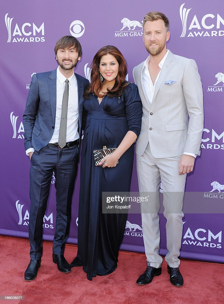 Dave Haywood, Hillary Scott and Charles Kelley of Lady Antebellum arrives at the 48th Annual Academy Of Country Music Awards at MGM Grand Garden Arena on April 7, 2013 in Las Vegas, Nevada.