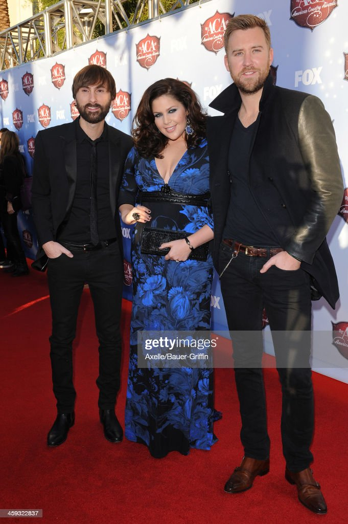 Dave Haywood, Hillary Scott and Charles Kelley of Lady Antebellum arrive at the American Country Awards 2013 at the Mandalay Bay Events Center on December 10, 2013 in Las Vegas, Nevada.