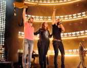 Dave Haywood Hillary Scott and Charles Kelley of Lady Antebellum perform during the 2012 CMA Music Festival on June 7 2012 in Nashville Tennessee