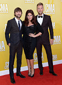 Dave Haywood Hillary Scott and Charles Kelley of Lady Antebellum attend the 46th annual CMA Awards at the Bridgestone Arena on November 1 2012 in...