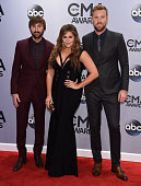 Dave Haywood Hillary Scott and Charles Kelley of Lady Antebellum attend the 48th annual CMA Awards at the Bridgestone Arena on November 5 2014 in...