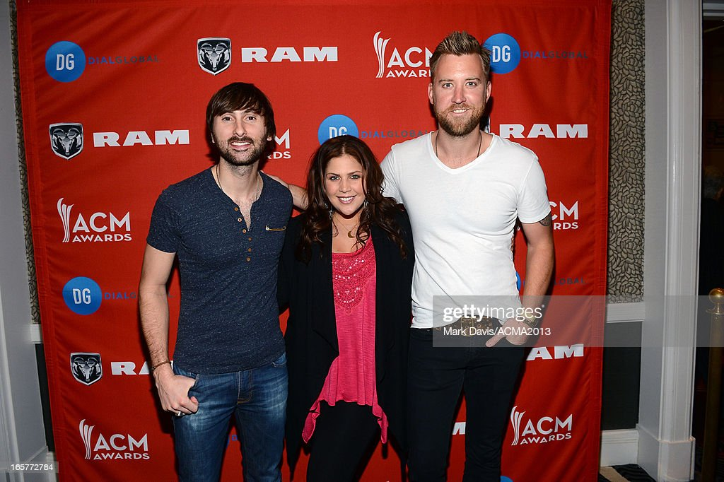 <a gi-track='captionPersonalityLinkClicked' href=/galleries/search?phrase=Dave+Haywood&family=editorial&specificpeople=4620526 ng-click='$event.stopPropagation()'>Dave Haywood</a>, Hillary Scott, and <a gi-track='captionPersonalityLinkClicked' href=/galleries/search?phrase=Charles+Kelley&family=editorial&specificpeople=3935435 ng-click='$event.stopPropagation()'>Charles Kelley</a> of music group Lady Antebellum attend the Dial Global Radio Remotes during The 48th Annual Academy of Country Music Awards at the MGM Grand on April 5, 2013 in Las Vegas, Nevada.