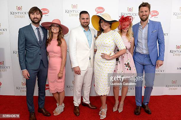 Dave Haywood Kelli Cashiola Chris Tyrrell Hillary Scott Cassie McConnell and Charles Kelley attend the 142nd Kentucky Derby at Churchill Downs on May...