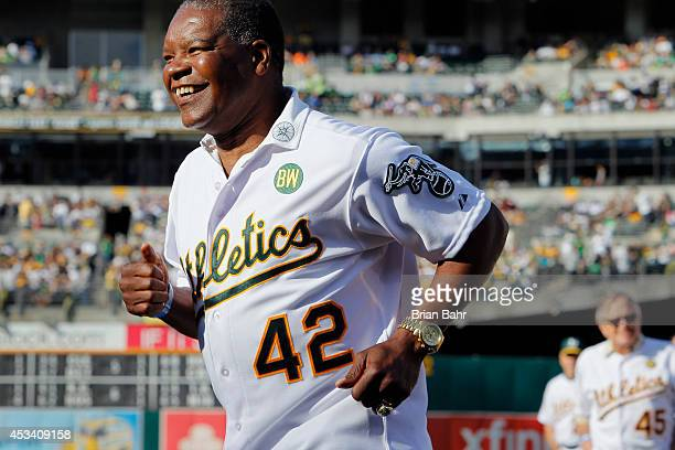 Dave Henderson of the 1989 Oakland A's joins his teammates as they celebrate their World Series championship 25 years ago against the San Francisco...