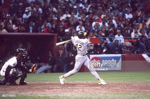 Dave Henderson of the Oakland Athletics swings at the pitch during the 1989 World Series against the San Francisco Giants in October 1989 at...