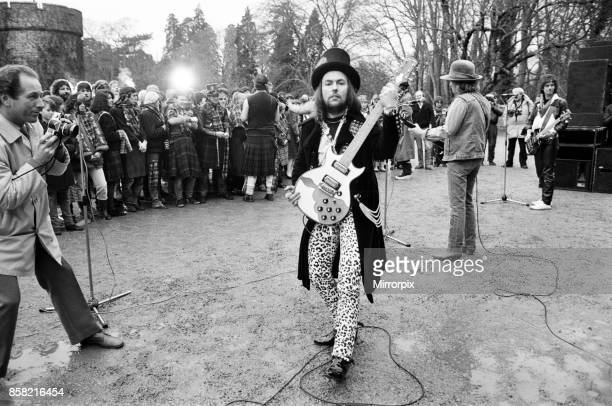 Dave Hill of Slade filming a new video at Eastnor Castle near Ledbury 26th January 1984