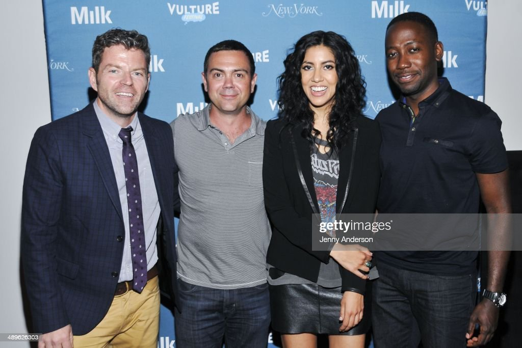 Dave Holmes Joe Lo Truglio Stephanie Beatriz and Lamorne Morris attend Pop Culture Trivia Night at the 2014 Vulture Festival at Milk Studios on May...