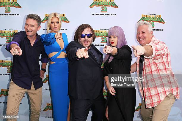 Dave Hughes Sophie Monk Jack Black Kelly Osbourne and Ian Dickson arrives for the Australian premiere of Kung Fu Panda 3 at Hoyts Cinemas The...