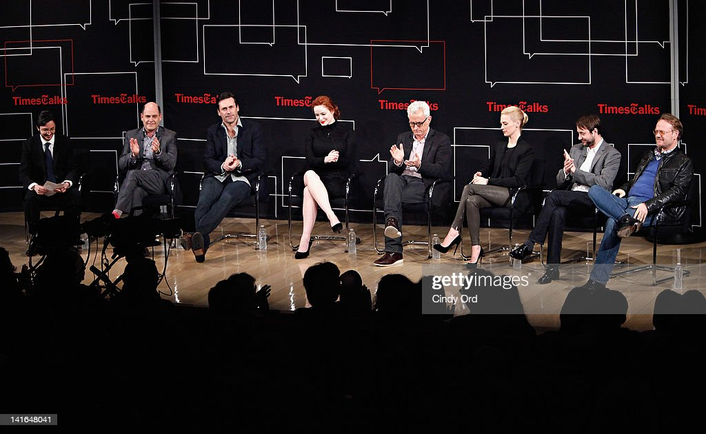 Dave Itzkoff, Matthew Weiner, Jon Hamm, Christina Hendricks, John Slattery, January Jones, Vincent Kartheiser and Jared Harris attend the TimesTalk: A Conversation with the Cast of 'Mad Men' at The Times Center on March 20, 2012 in New York City.