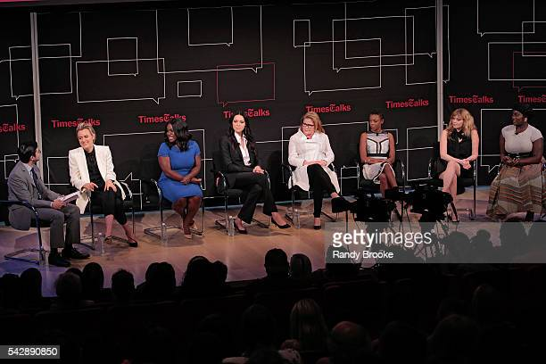 Dave Itzkoff Taylor Schilling Uzo Aduba Laura Prepon Kate Mulgrew Samira Wiley Natasha Lyonne and Danielle Brooks attend the TimesTalks presents...