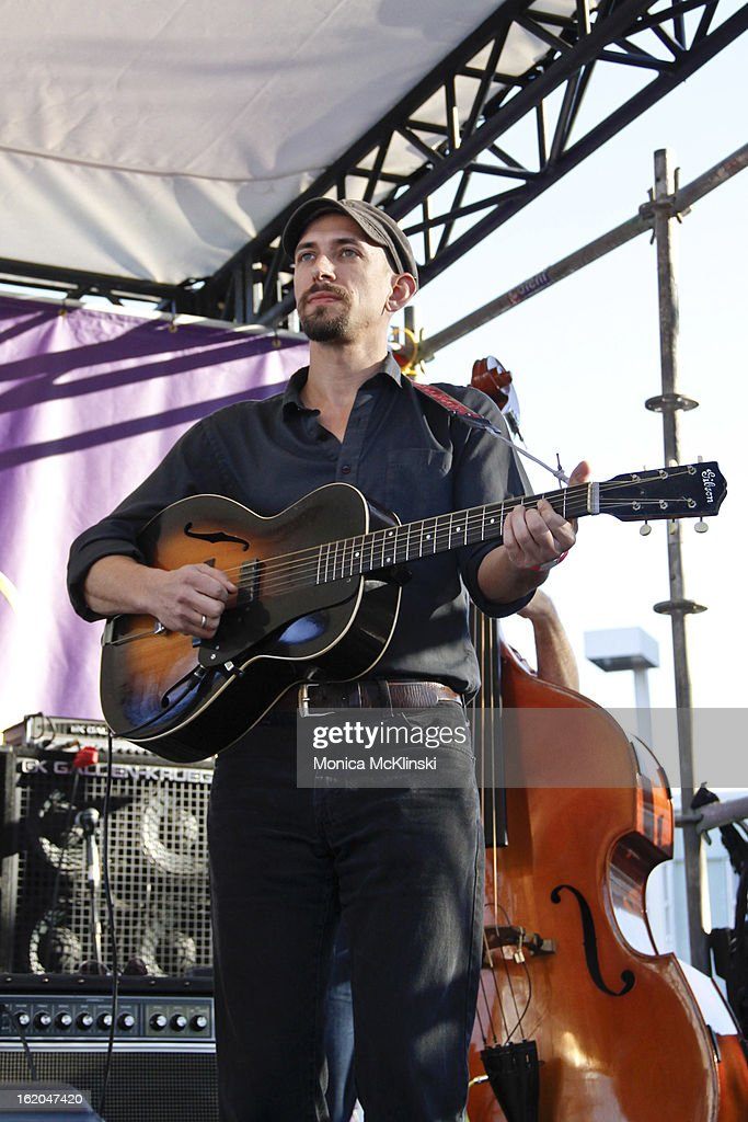 Dave James, Guitarist for Gal Holiday & The Honky Tonk Revue performs during the Verizon Super Bowl Boulevard at Woldenberg Park on February 1, 2013 in New Orleans, Louisiana.