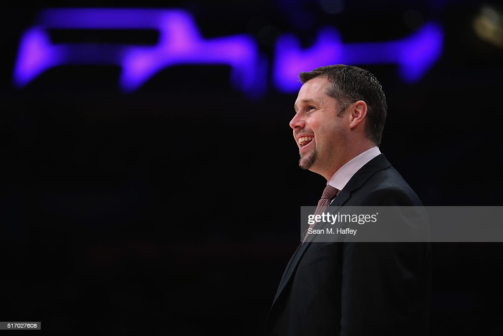 Dave Joerger head coach of the Memphis Grizzlies reacts to a play during the second half of a game against the Los Angeles Lakers at Staples Center on March 22, 2016 in Los Angeles, California.