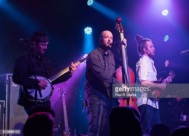 Dave Johnson Ben Kaufmann and Adam Aijala of Yonder Mountain String Band perform on stage at The Variety Playhouse on February 13 2016 in Atlanta...
