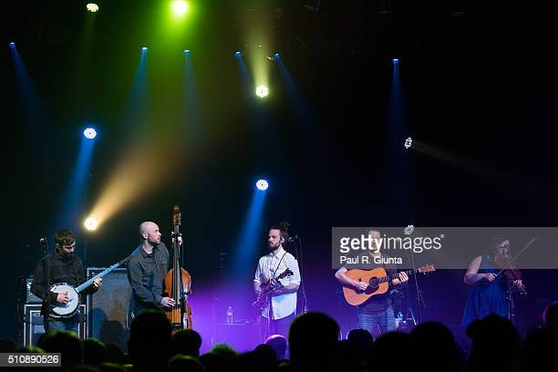 Dave Johnston Ben Kaufmann Jake Joliff Adam Aijala and Allie Kral of Yonder Mountain String Band perform on stage at The Variety Playhouse on...